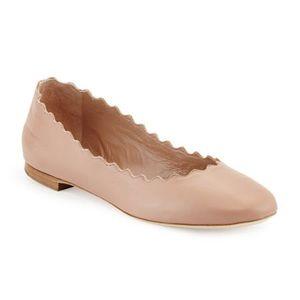 Chloe Lauren Scalloped Leather Ballet Flat